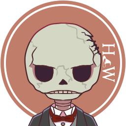 ハネダ おまけ部屋完成 宣伝 ツイッターなどでご自由にお使い頂けるちびキャラアイコンを3種類用意しました 今回は骨のバトラー先輩 後輩と透明人間のマスターです フリーゲーム ホテルワルプルギス フリーアイコン