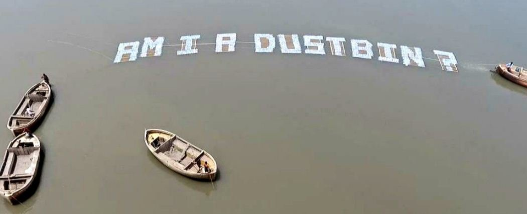 'Am I a Dustbin?' floating installation in river Tapi asks to Surat