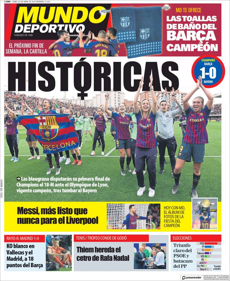 La Liga Lowdown On Twitter Monday S Front Pages Great To See Barcelona Femenino S Success Given Proper Recognition Mundo Deportivo Historic Sport Historic As A Need To Ask For Forgiveness Marca