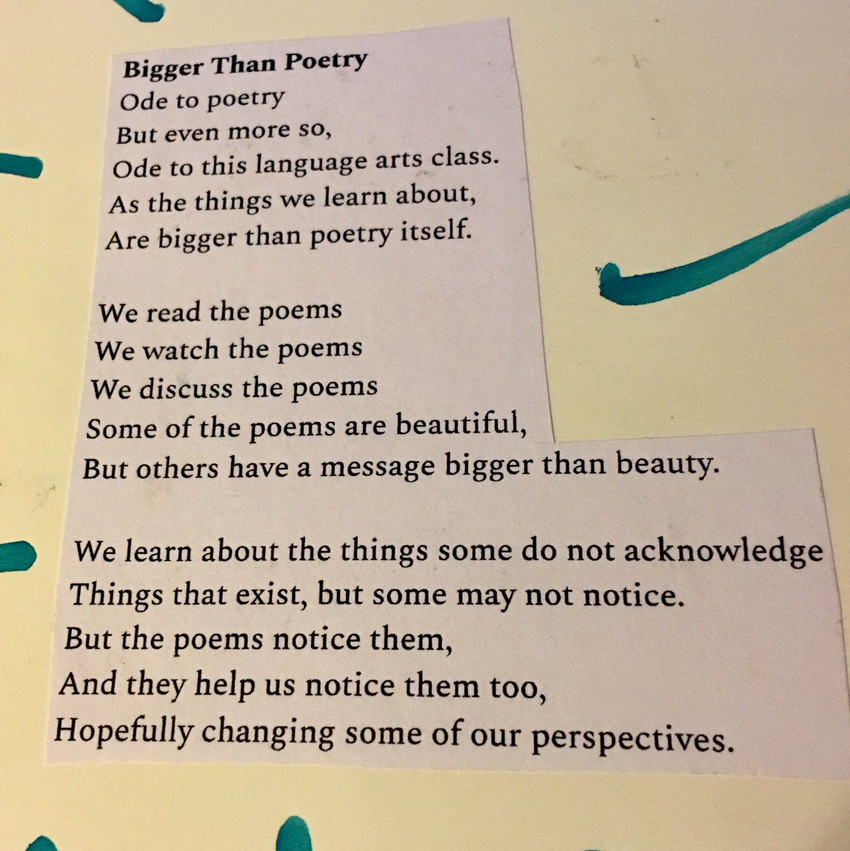 Juniors created poetry books in which they had to mimic six of ten poetic forms. The subjects of the poems are their classes or concepts they learned in those classes. Here are excellent examples of an ode and a ballad. #OurBMSA #Integration