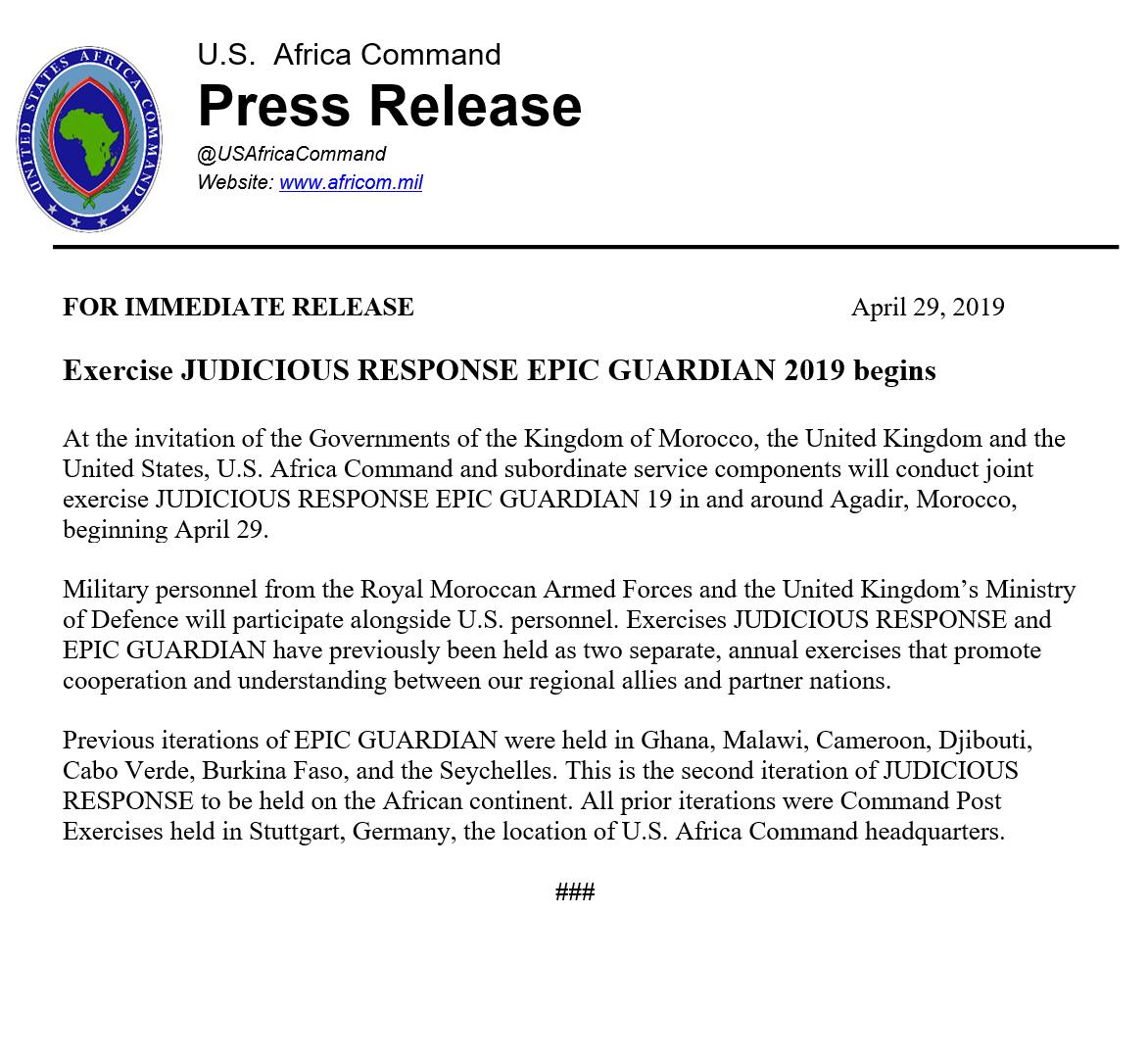 Exercice JUDICIOUS RESPONSE EPIC GUERDIAN 2019 D5U7TbvW4AETYGf