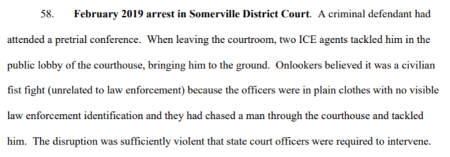 The complaint cites several times when ICE officers allegedly showed up at state courthouses and caused a disruption, including in Somerville District, Roxbury District, and Lawrence Juvenile.