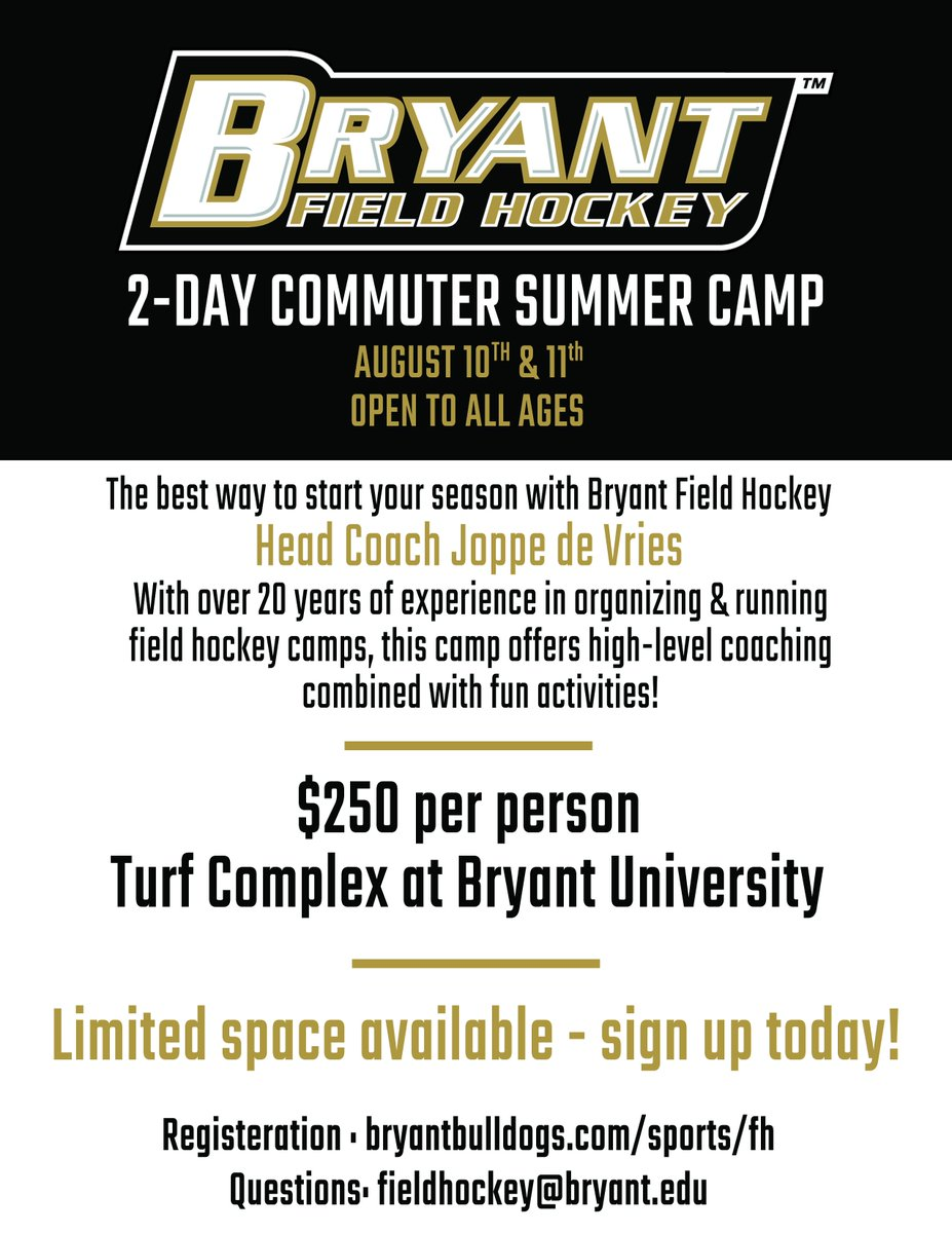 Don't forget about our two-day commuter summer camp!   Register today! ⬇️ http://bit.ly/FH-Summer-Camp   #GoBryant