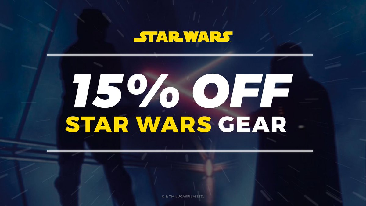 fbbf50f1c Right now you can get 15% off our official Star Wars gear with code MT4!  Check out the collection here! - http   dbh.la may4  pic.twitter.com xjplFs65AR