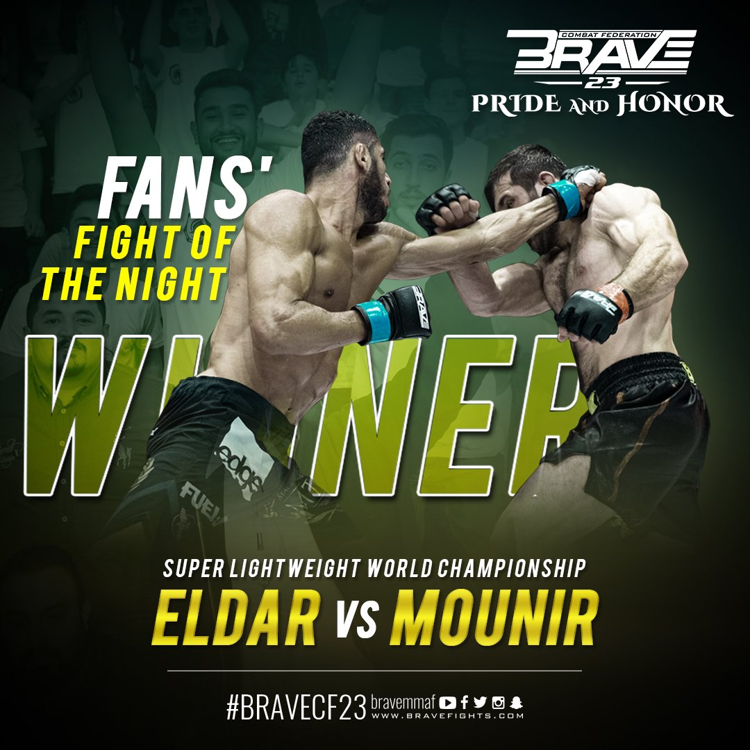 The inaugural Super Lightweight World Championship title fight, @Eldar_Khan vs @MLazzez is the fans' choice of BRAVE 23 Fight of the Night. #BRAVECF23