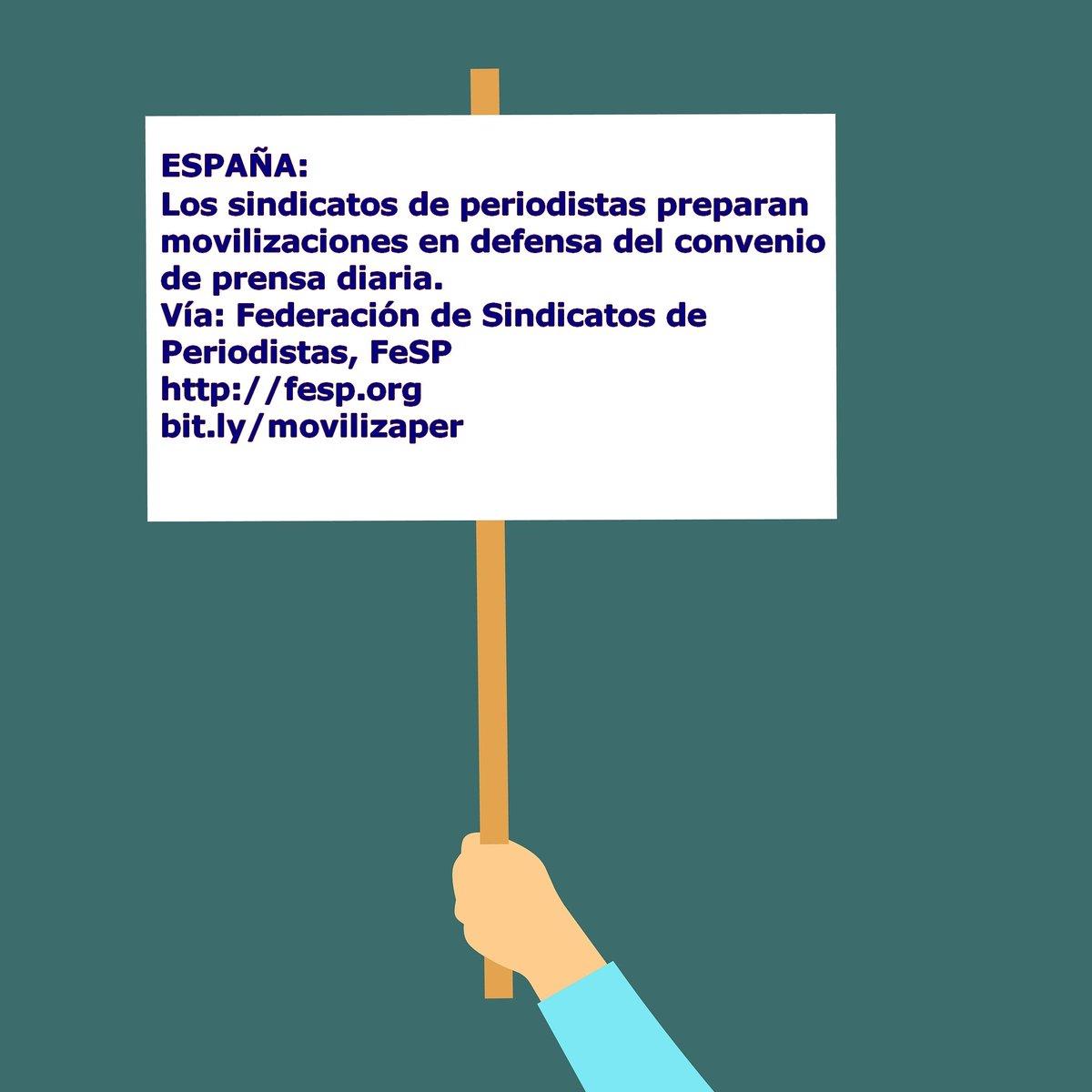#España: Los #sindicatos de #periodistas #SindicatosDePeriodistas preparan movilizaciones en defensa del convenio de #prensa diaria #Periodismo #PerioDigno #PrensaDiaria #Salarios #Empleo #Precariedad. Vía: @FeSPeriodistas http://bit.ly/movilizaper