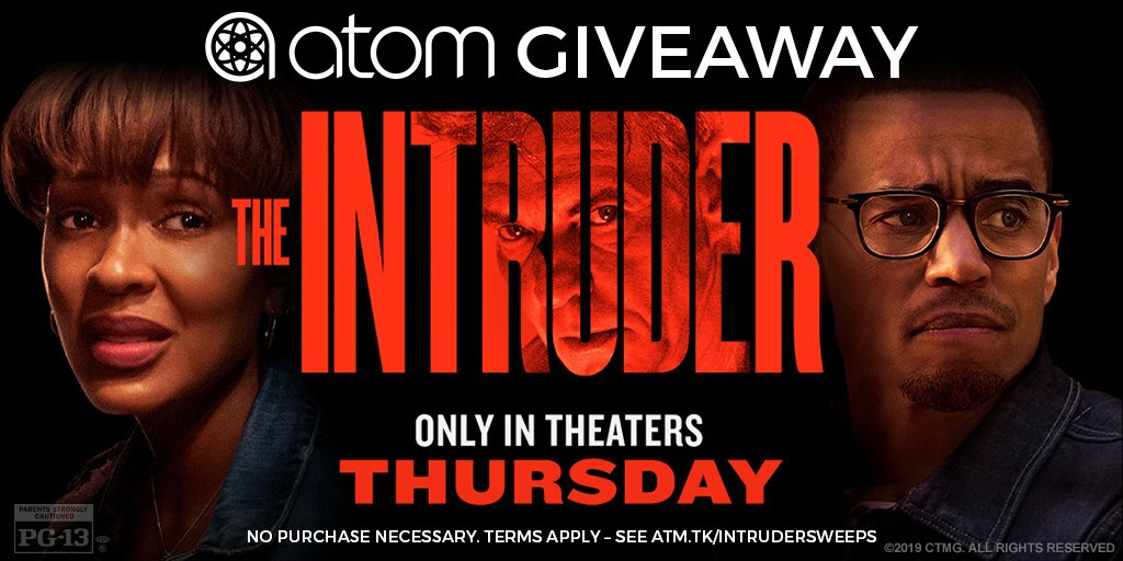 Sweepstakes! Your house. His home. There's safety in numbers to see the heart pounding thriller #TheIntruder in theaters Thursday. RT to be entered for a chance to win a 4-pack of movie tickets to experience the terror together. #AtomSweeps  See terms: http://atm.tk/intrudersweeps