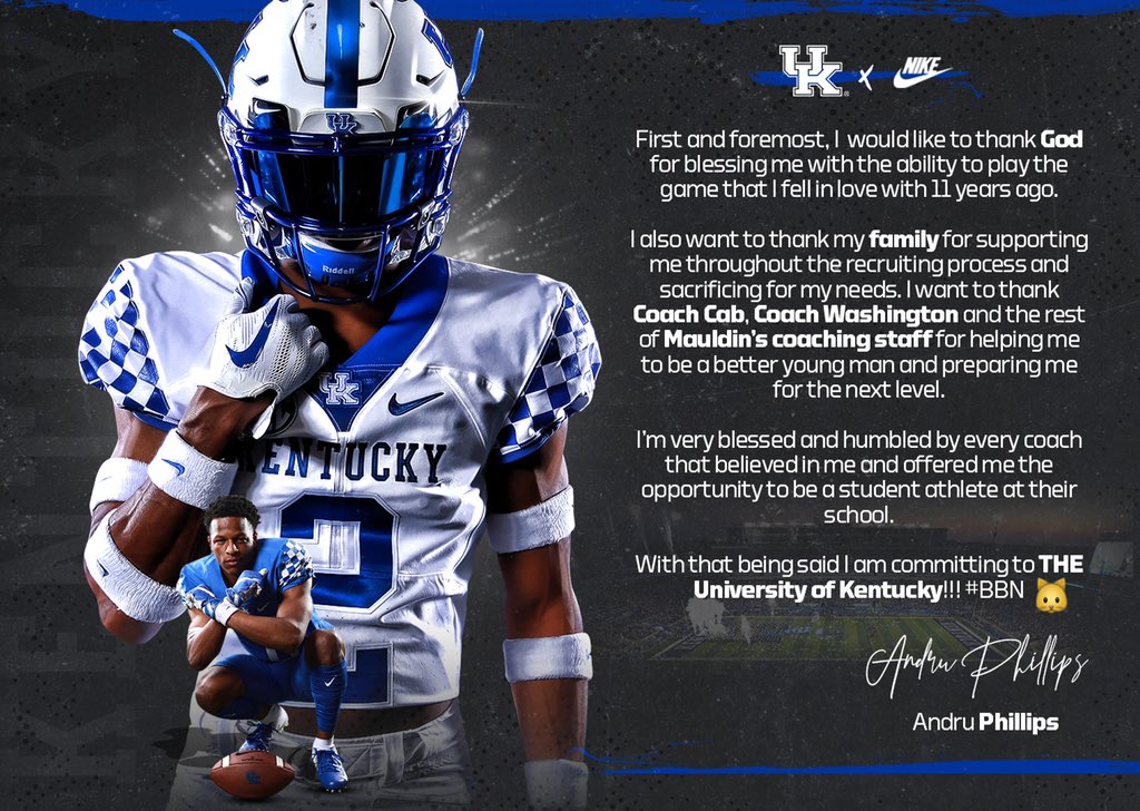 Kentucky lands commitment No  3 of 2020 cycle, a 3-star DB from