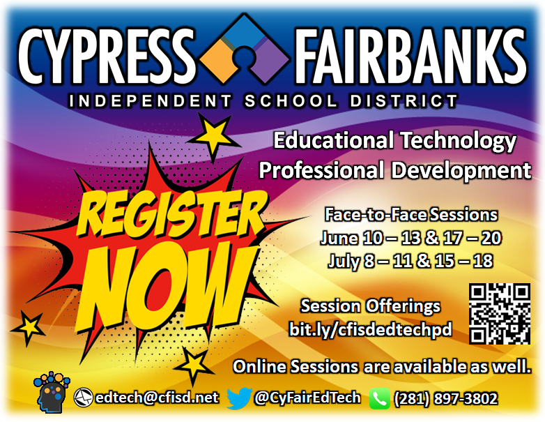 Register Now for great SUMMER PD w/ @cyfairedtech!  Face to Face and Online Session are Available!   http:// bit.ly/cfisdedtechpd      #edtech #K12 #summertraining <br>http://pic.twitter.com/jkDu4Z8SYO