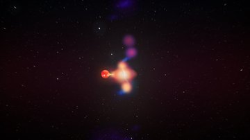 Artist's impression of the black hole X-ray binary system V404 Cygni as seen from a distance. Bright spots in the jets are detected by our high angular resolution radio imaging, and move away from the black hole in different directions. Credit: ICRAR