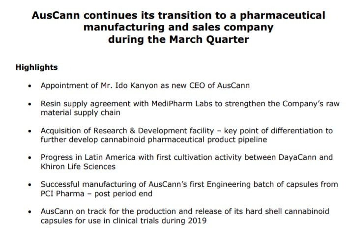 AusCann continues its transition to a pharmaceutical manufacturing and sales company. You can view our March Quarterly Activities Report here: https://t.co/qzuEMw5COJ