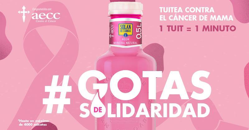 Me uno a la campaña de @solans_de_cabras #GotasdeSolidaridad y animo a que participéis pues con sólo un tweet convertiremos un minuto de atención psicológica para las personas afectadas por cáncer de mama 1 tweet igual a 1 minuto