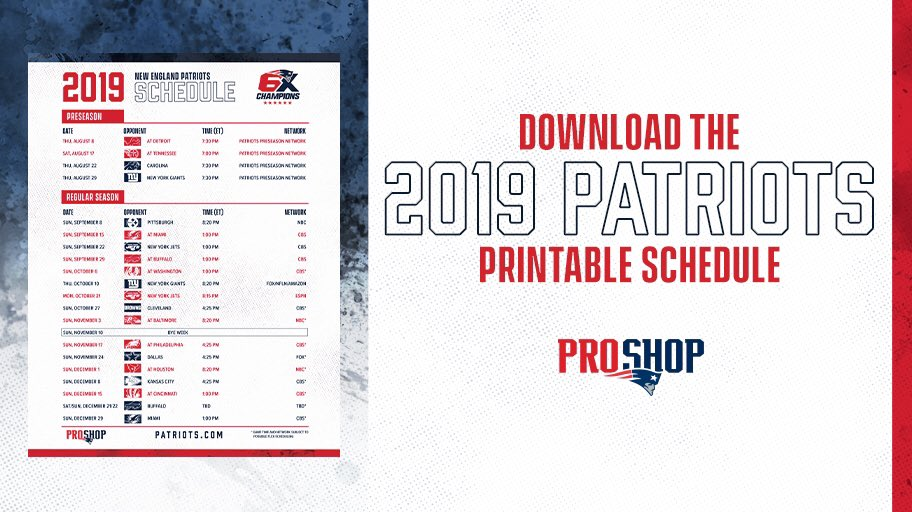photograph regarding New England Patriots Printable Schedule known as Obtain Print the Patriots 2019 Routine! https://proshop
