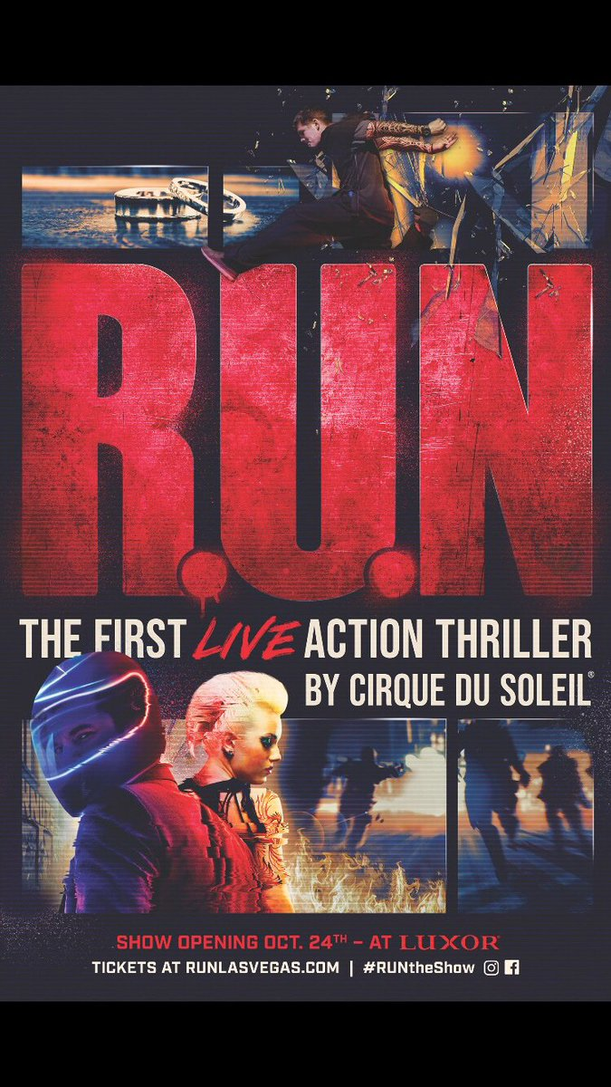 Get ready to #RunTheShow: R.U.N - The first LIVE action thriller by #CirqueduSoleil is opening at @LuxorLV on October 24th. More info:  http:// RUNLASVEGAS.com    <br>http://pic.twitter.com/AhGWI7rXOC