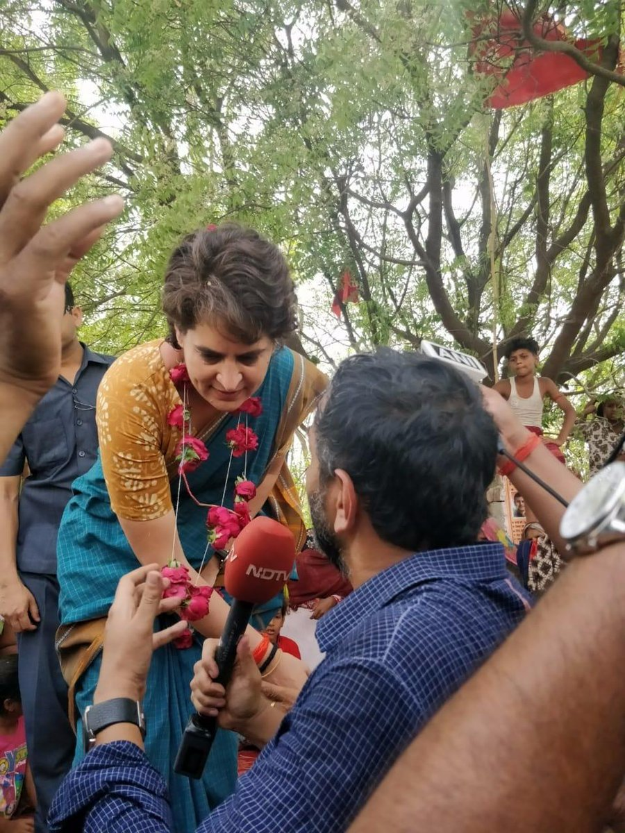 Just spoke to @priyankagandhi on the campaign trail in Amethi. She said the MHA notice to @RahulGandhi must be 'out of fear'. Fear of what? 'That they (BJP) are losing'. More on NDTV @OnReality_Check