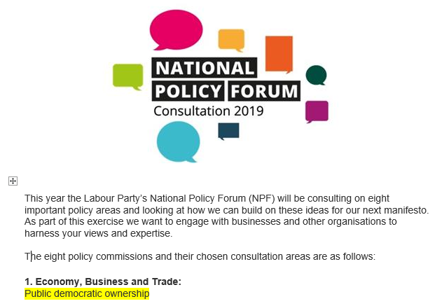 Clipped from an email advertising Labour policy discussion. First topic, top line about it... highlighted.