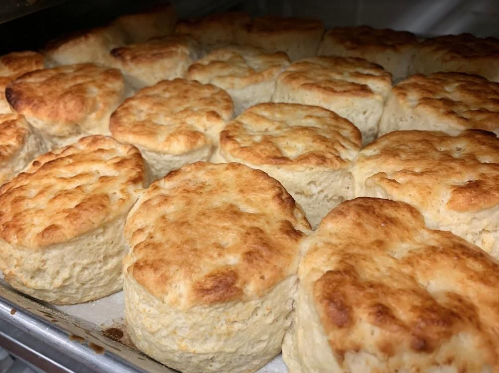The tempting aroma of biscuits fresh out of the oven is filling the air at Bayou Bakery... Get em' while they're hot!