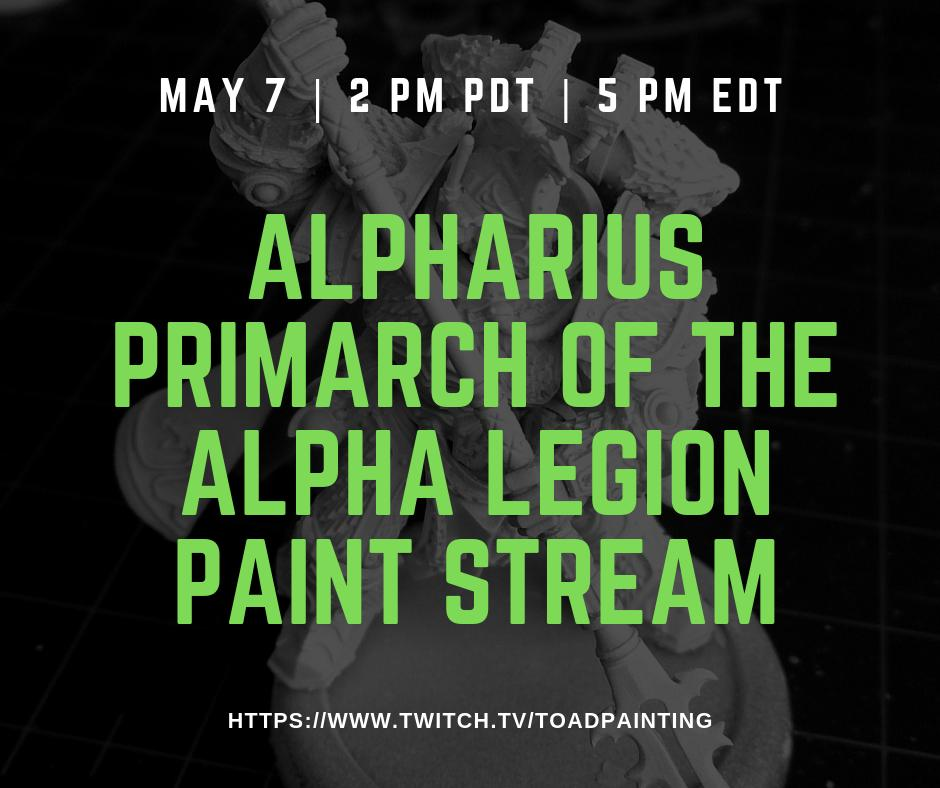 Come join me at 2pm for more work on Alpharius. Painting lots of NMM today! Hope to see you there.   https://www.twitch.tv/toadpainting   #gamesworkshop #warmongers #Warhammer #40k #warhammer40k #PaintingForgeWorld #paintingwarhammer