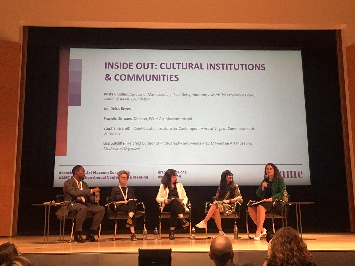 Last panel of #aamcnyc19 Inside Out: Cultural Institutions & Communities begins @lisajsutcliffe @MilwaukeeArt @GettyMuseum @Jendelosreyes @mfsirmans @pamm @ICAVCU