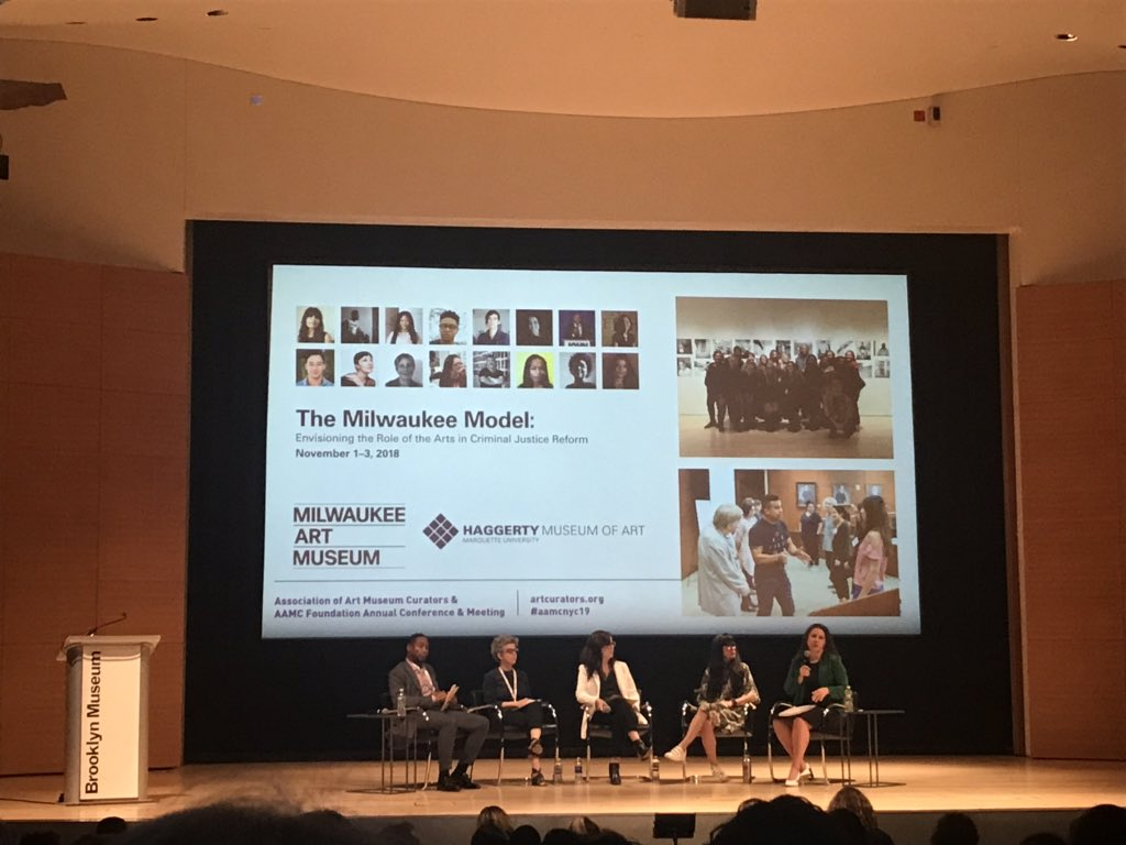 @lisajsutcliffe convening a great panel on the role of art, social issues, and community engagement   @Art_Curators #aamcnyc19  – at Brooklyn Museum