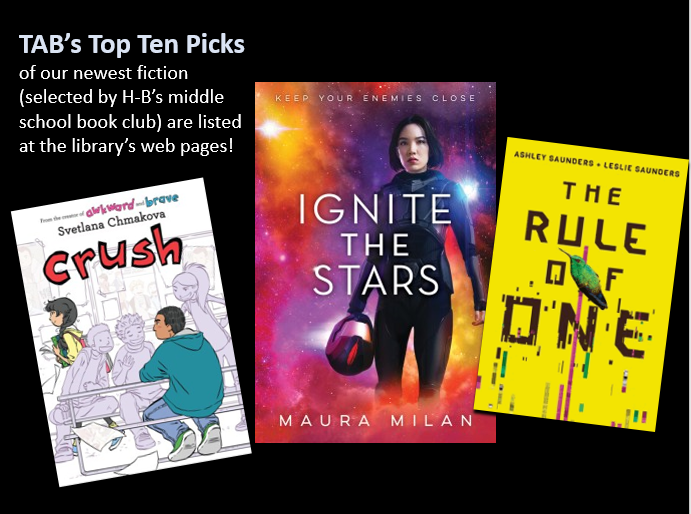 TAB, the middle school book club <a target='_blank' href='http://twitter.com/HBWProgram'>@HBWProgram</a> has been reviewing with <a target='_blank' href='http://twitter.com/ArlingtonVALib'>@ArlingtonVALib</a> a LARGE collection of newly published books to make its TOP TEN PICKS!  See the list at <a target='_blank' href='https://t.co/16SMGNPIYu'>https://t.co/16SMGNPIYu</a>.  High School TAB meets tonight at 5 pm at Central Library (& every first Tuesday.) <a target='_blank' href='https://t.co/ksdRibOjbN'>https://t.co/ksdRibOjbN</a>