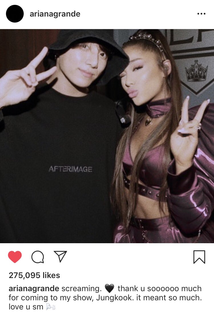 """claire ⁷ 」 en Twitter: """"ariana grande posted a picture with jungkook on her  instagram! (& that it's also her lock screen on her instagram story!) (as  he went to her"""