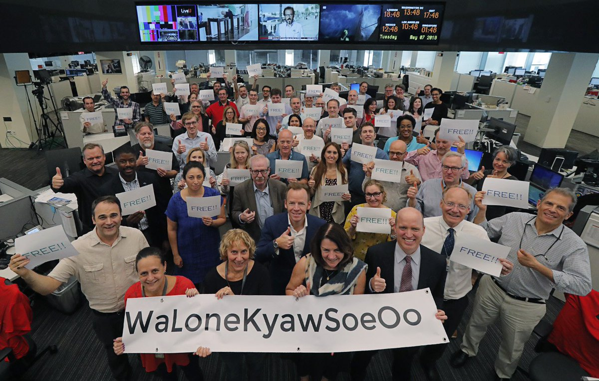 Free at long last! @Reuters D.C. celebrates the liberty of our Myanmar colleagues Wa Lone and Kyaw Soe Oo by presidential pardon after 500+ days in prison. #WaLoneKyawSoeOoFREED #ThumbsUpForPressFreedom Photo: @j_ernst_DC @ReutersPR