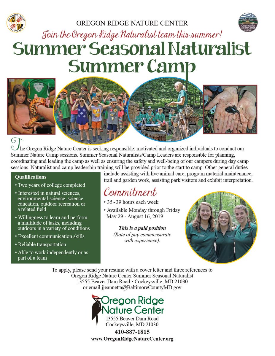 One more position to fill! #Naturalist #SummerCamp #SummerJob #SummerEmployment #OutdoorEducation #TeamBCPS
