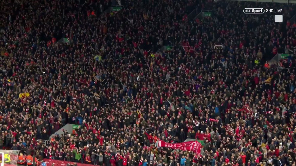The atmosphere at Anfield when the final whistle blew against Barcelona...  😮