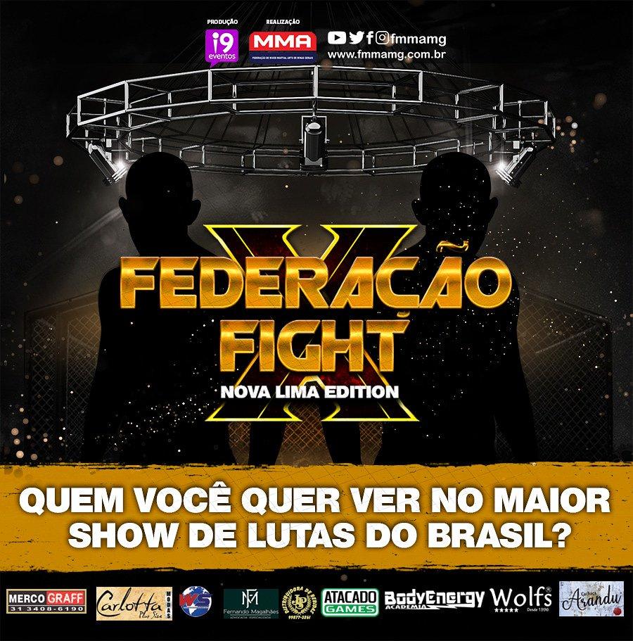 Marque o lutador e equipe que você quer ver dando um show no Federação Fight X. . #federaçãofightx #FMMAMG #mma #luta #novalima #fight #MMAnacional #esporte #Brasil #showdelutas #minasgerais #belohorizonte