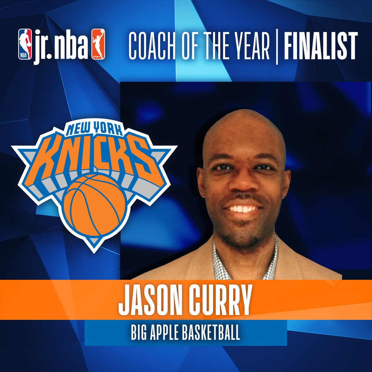 Excited to announce that our #JrKnicks Coach of the Year, Jason Curry, is a FINALIST for the @jrnba Coach of the Year award! We are so proud to have Jason represent the @nyknicks 👏 Let's go Jason!