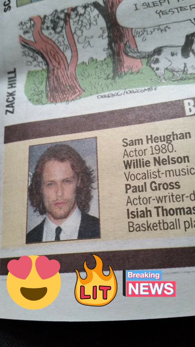 Look who\s birthday is in the Toronto newspaper today!!happy birthday Sam Heughan