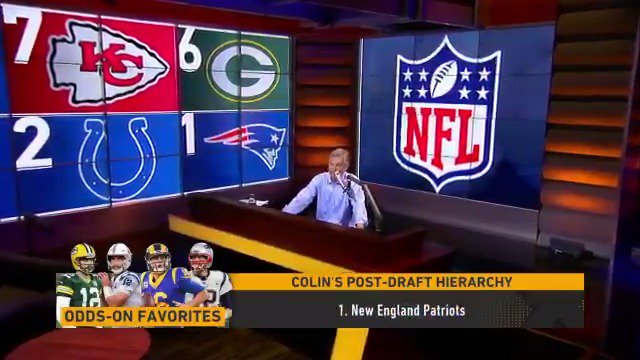 .@ColinCowherd unveils his Post-Draft NFL Hierarchy: 1. New England Patriots 2. Indianapolis Colts 3. ??