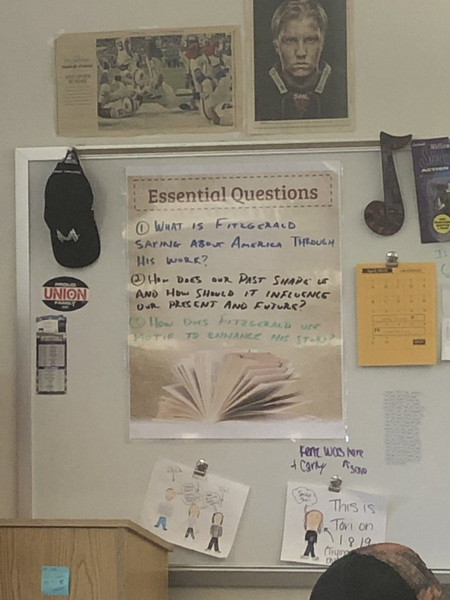 In @mrbielec 's classroom where he's teaching one of America's all time great book; The Great Gatsby. I love how the teacher frames his lesson by using essential questions. Students read quotes, write a reflection, the share with each other. #engagedclassrooms