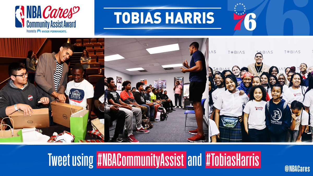.@sixers W ☑️ @tobias31 W ❓  Vote #TobiasHarris for the #NBACommunityAssist Award! RTs count as votes.  #PhilaUnite  | #HereTheyCome