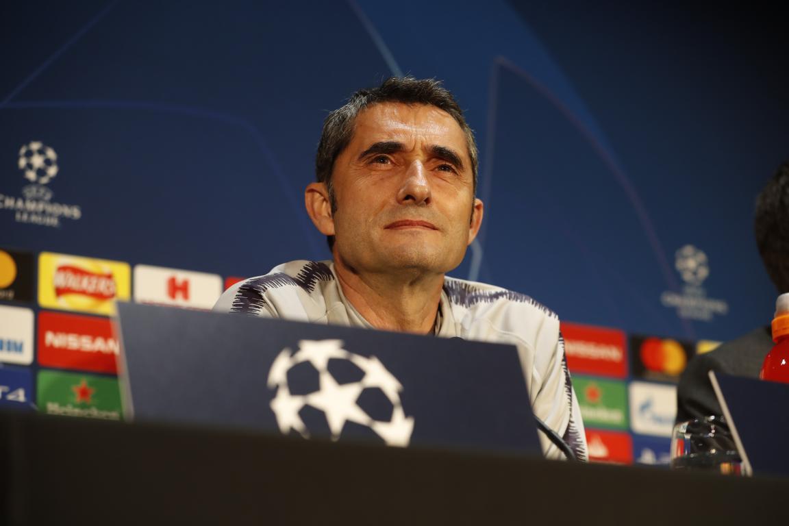 Valverde, en rueda de prensa (Foto: FCB).