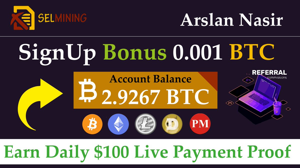 #selmining its gives you #freebtc 0.001 Bitcoin and #freeusd #mining Site Hope You Like it. In This video i also show you live payment Proof. Website Joining Link Here: https://t.co/PUy5OZ9f4R Watch Full Video Here: https://t.co/05QnE3IMu0 #btc #dogecoin #litecoin #ETH https://t.co/CUHvpgCgeX