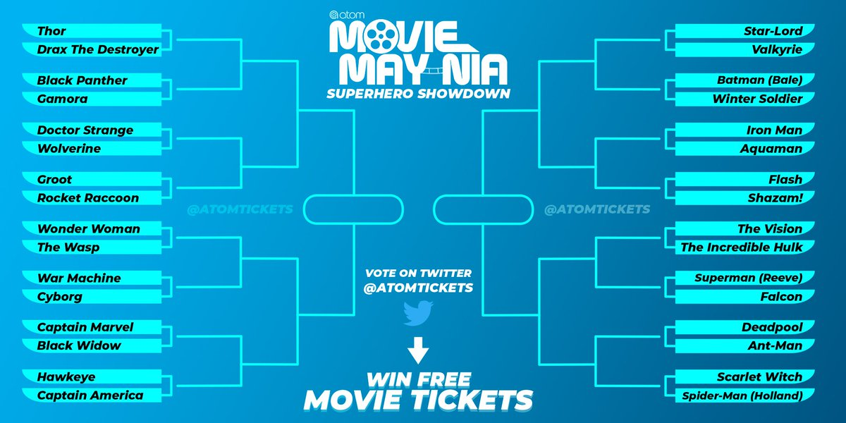 Want to win FREE movie tickets? 31 prizes. 31 days of May.  Starting tomorrow, we're going to post a daily matchup for our Movie May-nia Superhero Showdown — Vote, Follow @AtomTickets, and RT to be entered for a chance to win. We're on the search for the most popular superhero!