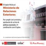 Image for the Tweet beginning: 📣#CeplanTeInforma @CancilleriaPeru es el primer