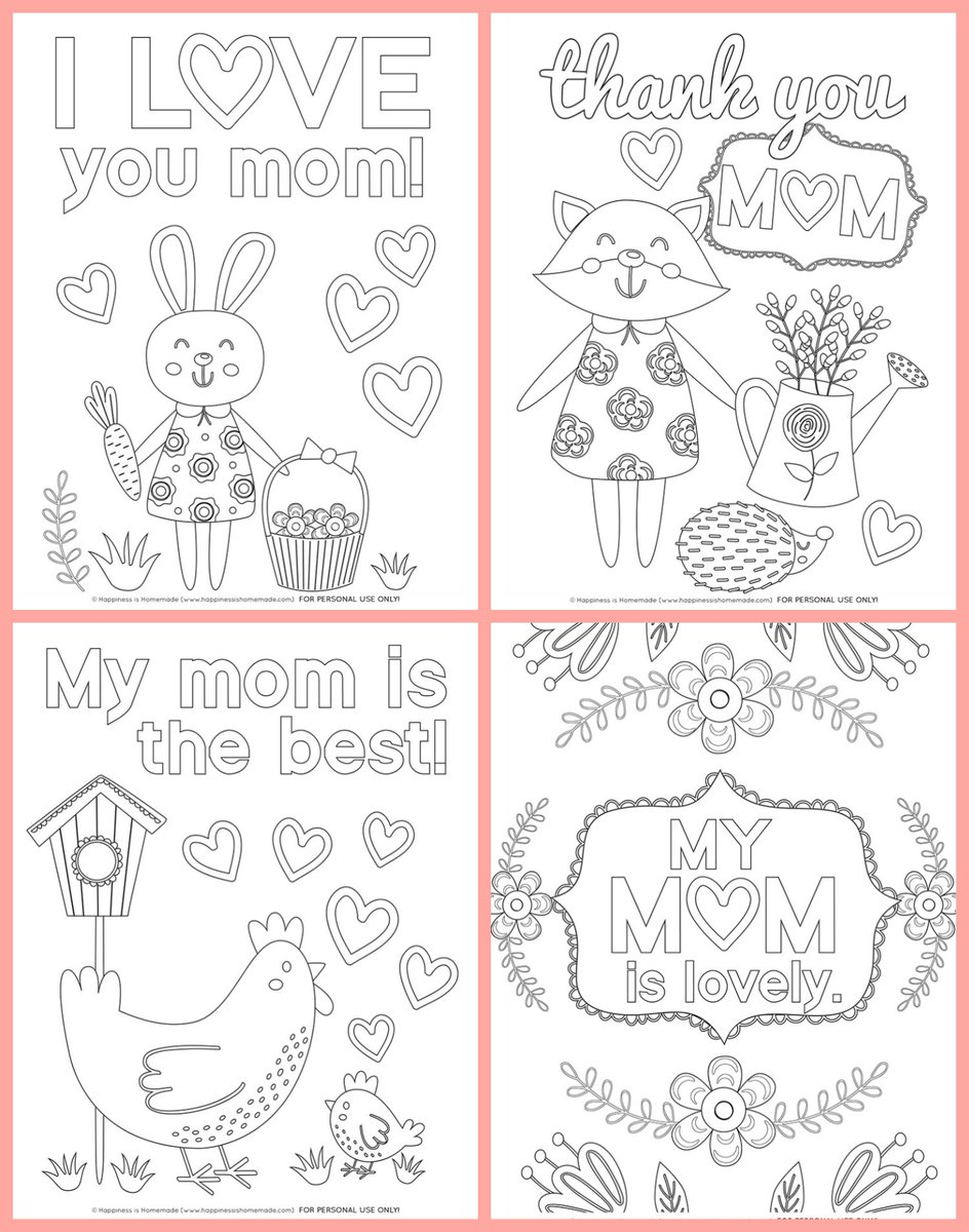 This is a picture of Free Printable Coloring Mothers Day Cards in activity