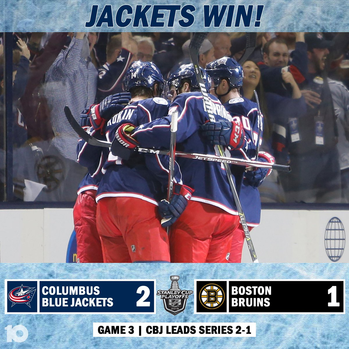 JACKETS WIN: The Columbus Blue Jackets have taken a 2-1 series lead against the Boston Bruins after a 2-1 win Tuesday night in Game 3 http://bit.ly/2J4Iw3H  #10TV #CBJ