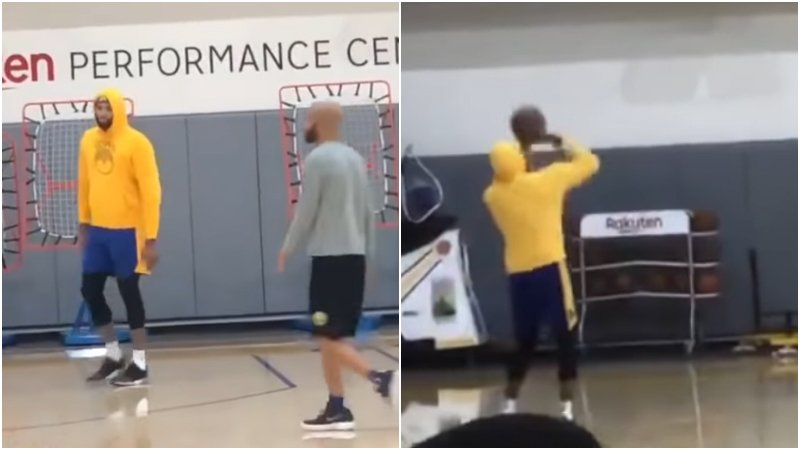 【影片】喜訊!表弟現身勇士球館訓練,3人陪他練習投籃,完美出手太準了!
