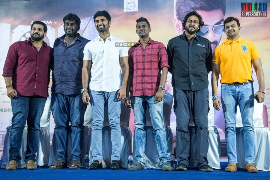 #Atharvaa, director #SamAnton, composer #SamCS and others at the '100' press meet. The film releases on May 9.  @Atharvaamurali | @samanton21 | @SamCSmusic | @ihansika | @auraacinemas | #100TheMovie | #100FromMay9 | #100PressMeet  More pictures here: https://silverscreen.in/photos/atharvaa-at-the-100-press-meet/…