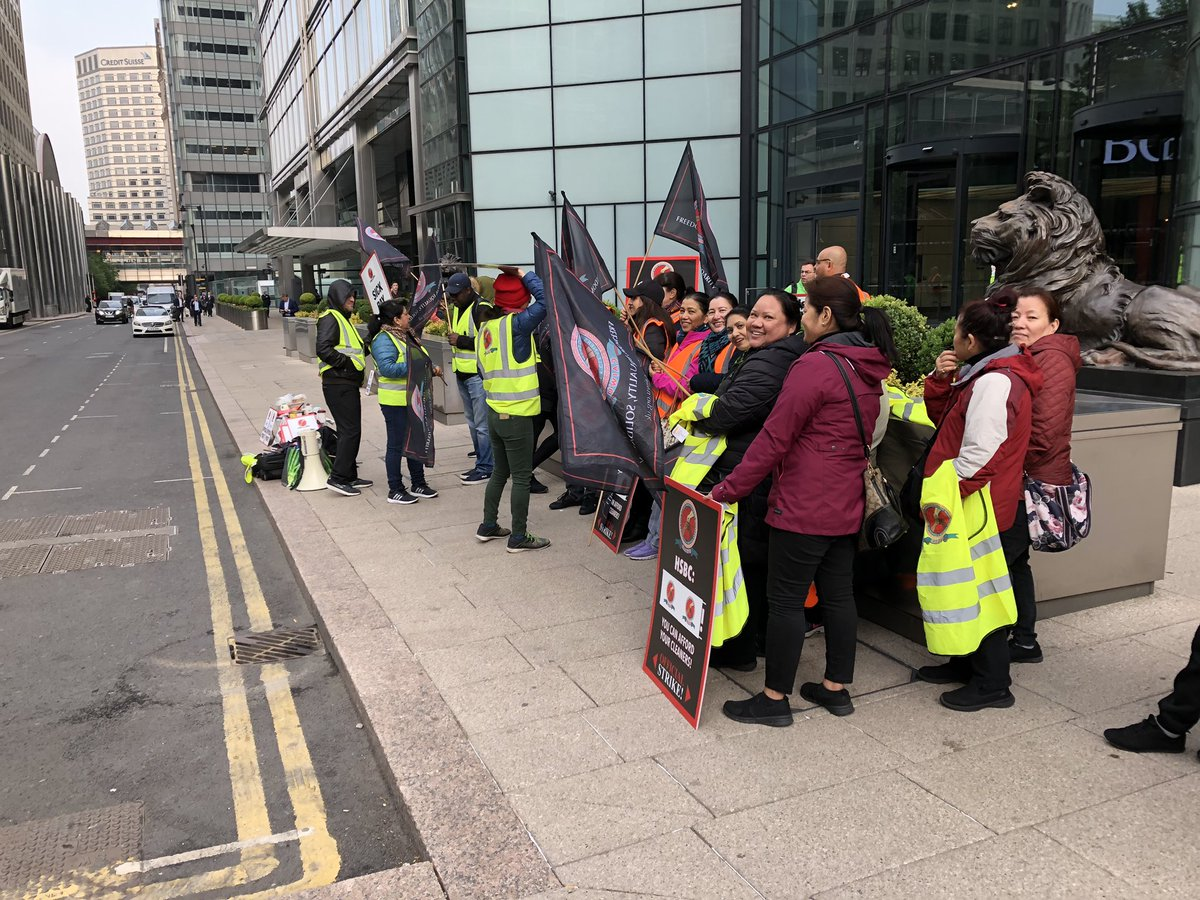 Starting the Mayday protests with a picket by cleaners of HSBC at Canary Wharf. Solidarity to everyone striking, protesting, not working, and generally taking the day off!