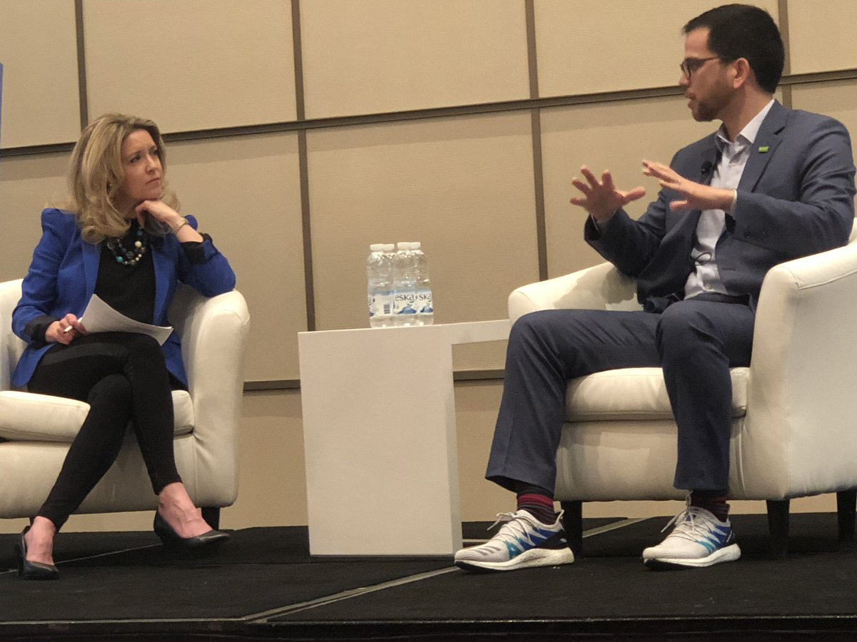 Nice shoes! @MarceloRochaLu1 shoes off his @adidas Boost shoes to @catherinejclark. They are a collaboration with @BASFCanada to make shoes out of recyclable materials using innovation.