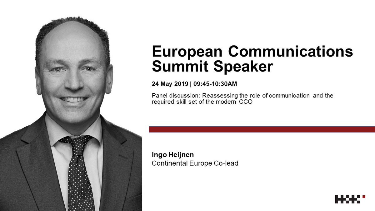 We're excited to confirm that our Continental Europe co-lead, Ingo Heijnen, will be speaking on the C-suite panel at the #ECS2019 this month! Take a look at the program to find out more about Ingo's panel: https://t.co/0rJjgmyY7x #HKproud @commssummit https://t.co/BEUx6jJuKs