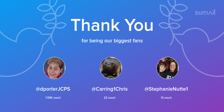 Our biggest fans this week: @dporterJCPS, @Carring1Chris, @StephanieNutte1. Thank you! via sumall.com/thankyou?utm_s…