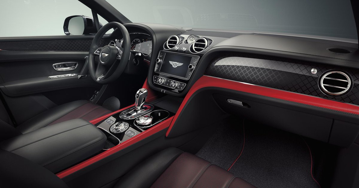 #Bentayga #V8 Design Series has a distinctive interior colour split of Beluga hide and one of four vivid accent colours. Discover: http://bit.ly/2XY5m1e   Bentayga V8 Design Series WLTP drive cycle: fuel consumption, mpg (l/100km) – Combined 21.7 (13.0). Combined CO2 – 296 g/km.