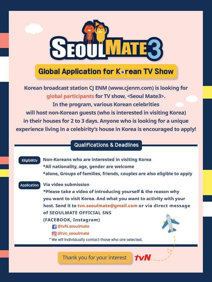 Have you heard? @tvN_Asia is accepting applicants for S3 of #Seoulmate! Heres your chance to visit #Korea and be hosted by a celebrity! Details on how to apply in the poster. Get upclose and personal with your favourite stars, maybe? 🤩
