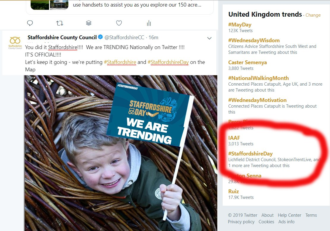 You did it Staffordshire!!!!  We are TRENDING Nationally on Twitter !!!! IT'S OFFICIAL!!!!   Let's keep it going - we're putting #Staffordshire and #StaffordshireDay on the Map https://t.co/O4gfqLt7jo